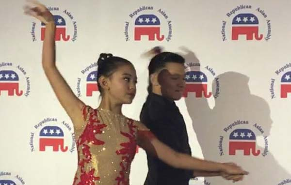 Harmony Liu, who is the peace ambassador of Global Future Leader Organization performing Chinese Harp and dance Latin with the outstanding young dancer Jason Dai
