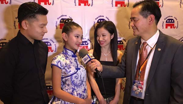 Harmony Liu with outstanding dancer  Jason Dai and program sponsor Ms Kewa interviewed by CWTV