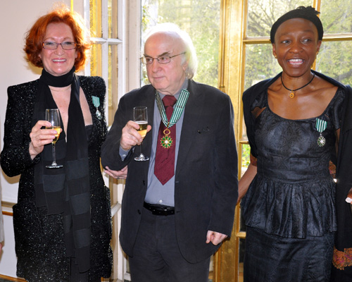 Jackie Raynal, Norman Manea and Mahen Bonetti, having received France's Order of Arts and Letters at the Cultural Services of the French Embassy on April 12