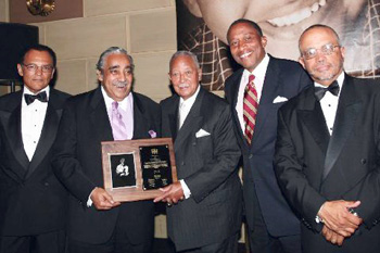 Hale House Board Member Melvin Washington; House Ways & Means Chair Charles B. Rangel; former NYC Mayor David Dinkins; Hale House Chairman of the Board Zachary Carter, Esq.; and Hale House Executive Director Randolph McLaughlin at the 38th annual Mother Hale Awards for Caring Gala on June 4 at Gotham Hall in Manhattan. The elegant evening, hosted by Oscar-winning actress Marcia Gay Harden, raised more than half a million dollars and paid tribute to Congressman Rangel as well as philanthropist Valesca Guerrand-Hermès; Kimberly B. Davis, President of the JPMorgan Chase Foundation; and Michael D. Lappin, President of the Community Preservation Corporation and Hale House board member. Photo by: Shahar Azran