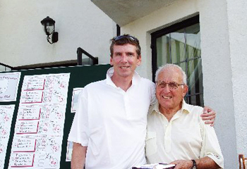 Greenwich resident Tom Hughes, chairman of Kings Point Capital Management and a member of the Merrill Lynch team, won the �Closest to the Pin� challenge at Stamford Hospital �s Corporate Invitational. Greenwich resident Carl Bennett, co-chair of the annual golf event, congratulates Hughes on the achievement. Photo by:Andy King -Foursomephotos