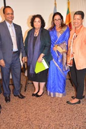 H.E. Sabarullah Khan, Ambassador and Deputy Permanent Representative of the Permanent Mission of Sri Lanka at the UN, Margo LaZaro, co-chair, NGO Committee on Sustainable Development; Sonali Samarasinghe, Minister Counsellor of the Permanent Mission of Sri Lanka to the UN; Yvonne O'Neal, Co-chair, NGO Committee on Sustainable Development-NY