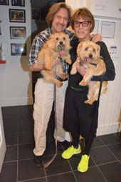Barry Gordin and pup Tallulah and Patrick Christiano with pup Franki .  Photo by:  Rose Billings/Blacktiemagazine.com