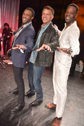 Jarran Muse, (Marvin Gaye in Motown), Brian Stokes Mitchell (Tony Winner) and JL Williams (Fella).  Photo by: Rose Billings/Blacktiemagazine.com