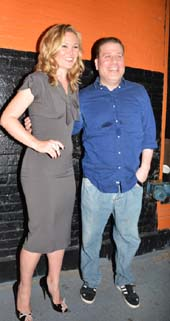 Julia Stiles with Noel Ashman, owner of The Leonora.  Photo by:  Rose Billlings/Blacktiemagazine.com