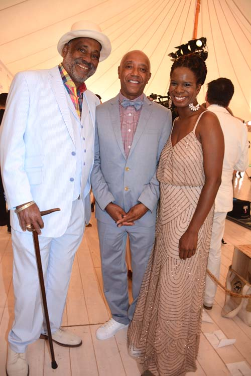 Danny Simmons and Russell Simmons (co-Founders of Rush Philanthropic Arts Foundation )with Executive Director Tangie Murray at Art For Life 20th Anniversary Roaring Twenties 2015. Photo by:  Rose Billings/Blacktiemagazine.com