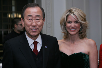 UN Secretary-General Ban Ki-moon and Paula Zahn
