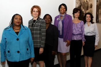 Jackie Rowe-Adams, co-founder of Harlem Mothers S.A.V.E; Gabrielle L. Kurlander, President and CEO, All Stars Project; M Yolaine Milfort, Haitian Consulate of New York; Denise McLain, Parent Coordinator, Sethlow IS 96; Jacqueline Salit, President, Committee for a Unified Independent Party; Annie Dickerson, Policy, Philanthropy, and Strategic Development for