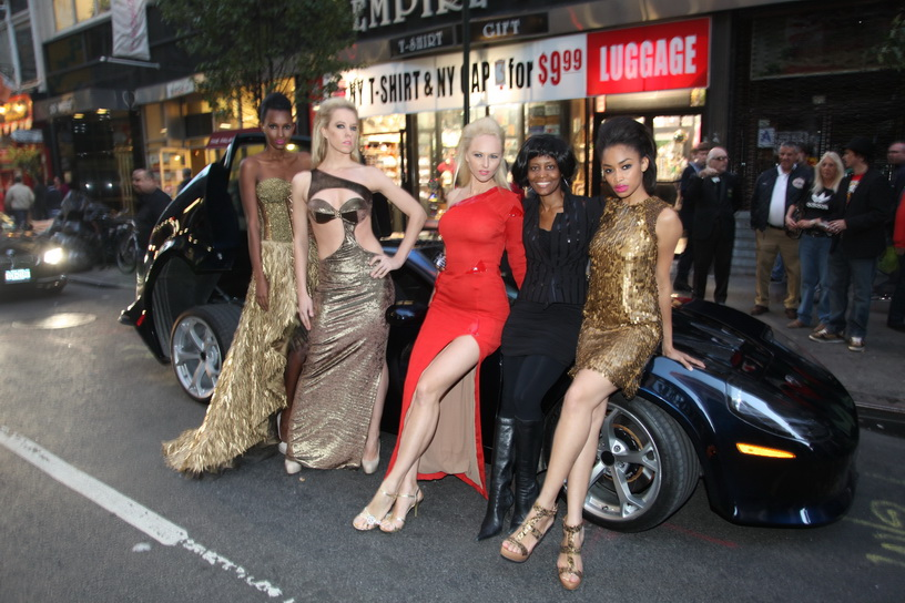 Models Stacy Anderson, Denise Dietrichs, Angelina Shipilina, Fashion Designer Sharon E. Clarke