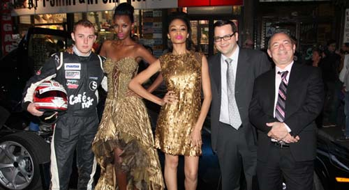 Indy Race Car Driver Luca, models  Stacy Anderson and Khadiijah Olton, Marc Segelnick Partner Central Securities