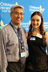 Children's Hospital Los Angeles Interventional cardiologist Frank Ing, MD, and his patient, Eileen Garrido. Garrido, 15, had heart surgery at CHLA in June and says she is feeling stronger than ever