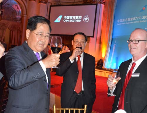 Toast to the success of the Guangzhou, China to JFK, route.  Gambai!