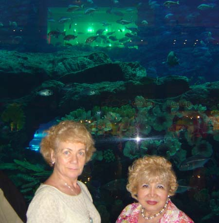 Gloria T. Cressler and Paula Oleska inside the Mega Mall of the Emirates