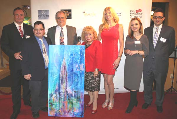 Gerard McKeon, Michael Indorato (Artist) with the Dean Love to accept his Award, which  was painted by the Artist Michael Indorato thru the suggestion of Gloria T. Cressler his agent and PR. who is the President/Founder of Elite Professional Networking and International Correspondent of Black Tie International Magazine, Victoria  Shore, Sabina Klimek Trade Commissioner of Poland and Wojciech Torcewicz also of Polish Consulate.