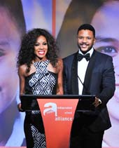 Emcees Wendy Raquel Robinson and Hosea Chanchez, co-stars of The Game on stage.  Photo by:  Vince Bucci