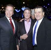 Arnold Schwarzenegger, Sylvester Stallone and gala co-chair Haim Saban attend the Friends Of The Israel Defense Forces 2014 Western Region Gala at The Beverly Hilton Hotel on November 6, 2014 in Beverly Hills, California. (Photo by Tiffany Rose/WireImage)