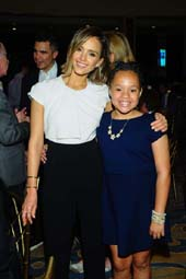 Jessica Alba and ISA student speaker Maya.  Photo by:  Vince Bucci