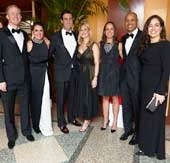 The Fresh Air Fund's Fall Benefit & Silent Auction, Le Bal Masque, was on Thursday, November 19, 2015 at Pier Sixty, Chelsea Piers. Dinner chairs Bryan Ramm, Megan Petrie Ramm, Mike Sodikoff, Isabelle Krusen, Tamie Peter Thomas, Rich Thomas are pictured with Executive Director of The Fresh Air Fund Fatima Shama. Photo by Jerry Speier