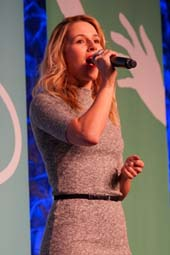 Actress/singer Alona Tal performing on stage