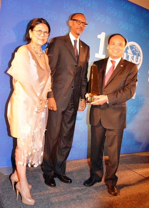 Sheri Yan, Co-Founder and CEO of the Global Sustainability Foundation,   H.E. President Paul Kagame President of the Republic of Rwanda, Mr. Houlin Zhao, Secretary General of  ITU
