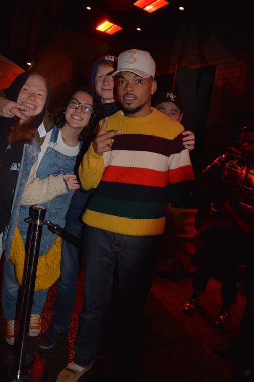 Carolyn, Nicole and Sean Leibold with Chance The Rapper Guest Host of SNL at after party before Thanksgiving.  Photo by: Rose Billings/Blacktiemaagzine.com