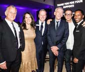 Brad Learmonth; Karen Pearl, President & CEO, God�s Love We Deliver; David Ludwigson, Vice President & Chief Development Officer, God�s Love We Deliver; Jon Gilman, Recipient of Golden Heart Award for Outstanding Volunteerism; Joe Dolce; LaMont Craig   .  Photo by:  Nicole Bailey