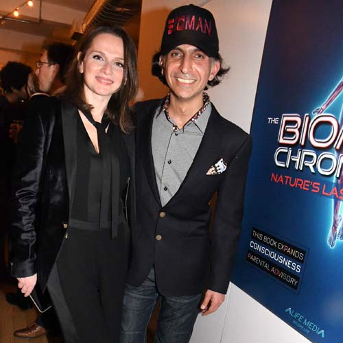 Alfie with host, Alfie with host, Beata Gutman Kriovshey (Founder & President Grasshopper Global) .  Photo by:  Rose Billlings/Blacktiemagazine.com