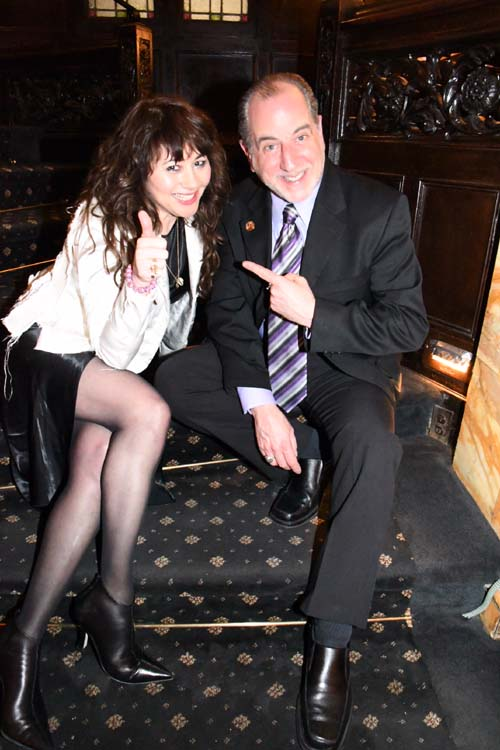 Frances Ruffelle (Tony Award Les Miserables) and Bob Spiotto (Friars).  Photo by:  Rose Billings/Blacktiemaagzine.com