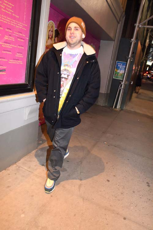 Jonah Hill leaving Opening Night Mean Girls at August Wilson Theatre.  Photo by: Rose Billings/Blacktiemagazine.com