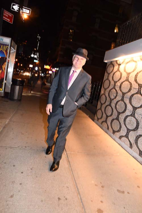 Steve Martin leaving after party at TAO.  Photo by:  Rose Billings/Blacktiemagazine.com