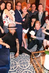 Standing: Audrey Wu (artist), Laura Spaeth (comedian, Barely Standing),Richard DeFonzo (actor), Seated: Randolph Bailey (make up artist) Florence Baylor, Steve Beary and Lindsay Poulis New York City impresario producer, Paul Horton, president of CAMA Talent, turns birthday bash into surprise engagement to star of the hit show Burlesque To Broadway and producer, Quinn Lemley surrounded by enthusiastically surprised friends..  Photo by:  Rose Billings/Blacktiemagazine.com