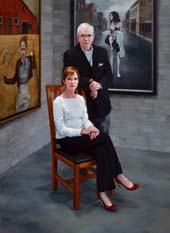 "Katie O'Hagan, Portrait of the Collectors Steven Alan Bennett  and Dr. Elaine Melotti Schmidt, oil on canvas, 78""x58"" 2016"
