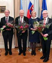 Ladislava Bege�, the Consul General of Slovakia in New York; Miroslav Lajč�k, President of the United Nations General Assembly; John Palka, award-winning professor and author; George Sipko PhD, Founder, of KOGER, a global financial services technology company, who currently serves as its Managing Director and Chief Technology Officer; Marica Vilcek, Cofounder, Vice Chairman and Secretary of the Vilcek Foundation; Dr. Jan T. Vilcek, research professor at New York University School of Medicine and Cofounder, CEO and Chairman of the Vilcek Foundation; and Michal Mlyn�r, Slovakia's Ambassador and Permanent Representative to the United Nations