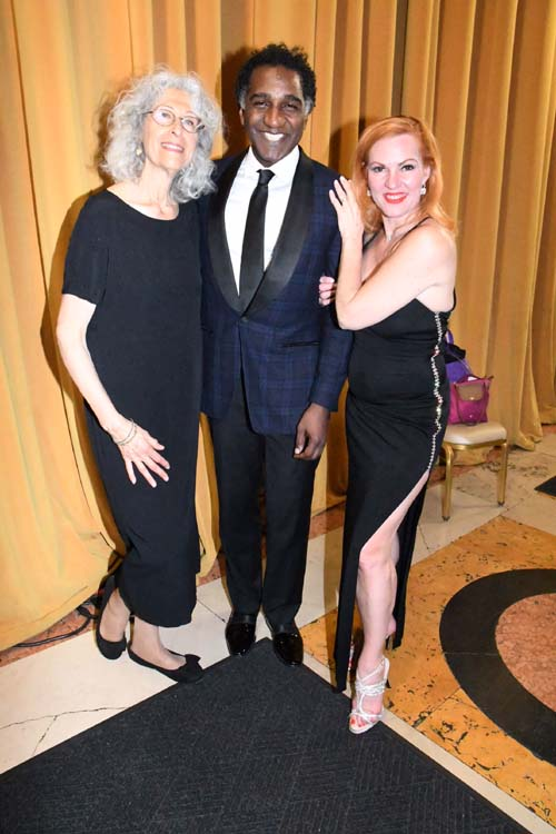 Irene Zola, Founder and Executive Director, Lifeforce in Later Years, Norm Lewis, Broadway star, and Quinn Lemley, star of Burlesque to Broadway.  Photo by:  Rose Billings/Blacktiemagazine.com