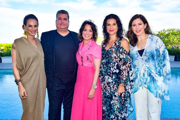 Lisa Fields, Salvatore Tramuto, Margie Loeb, Guest and Camille Zamora attend Roberto Cavalli Beach Magazine Hamptons Event at Private Residence on July 26, 2018 in Southampton, New York.