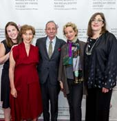 Ivy Weingram, Associate Curator, National Museum of American Jewish History; Honorees Nina Bernstein Simmons, Alexander Bernstein, and Jamie Bernstein; and Ivy Barsky, CEO and Gwen Goodman Director, National Museum of American Jewish History at the Museum?s 2018 Only in America Gala in New York City, celebrating Leonard Bernstein?s legacy. The event was held at the Mandarin Oriental on May 22, 2018.