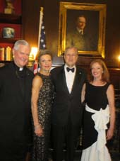 Rev. Gerald E. Murray, J.C.D., Hon. Loretta A. Preska, Hon. Edward F. Cox, and Robin Weaver, President.  Photo by:  Joyce Brooks/Blacktiemagazine.com