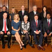 """Back Row left to right- Commander Eugene McDonald (Posthumous Award), Ryan Seacrest, Kelly Ripa (Guest Presenter), Bill Abbott, John David, Juju Chang (Emcee) Front Row left to right- Jack Abernethy, Paula Zahn, Elizabeth Murphy Burns, Dave Lougee, Bill Whitaker Not Pictured- Ed Asner"". Photo by WEndy Moger-Bross"