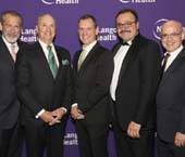 Dr. Joseph Zuckerman; Dr. Robert I. Grossman, Dean and CEO of NYU Langone; honorees Dr. Jonathan Whitesonand Dr. Chris Kyriakides, and Dr. Steven Flanagan