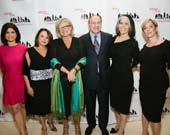 Gala Host Tamsen Fadal, Ackerman President & CEO Gisselle Acevedo, honorees Cynthia McFadden, Arnold Syrop, Lois Braverman and Ackerman Board Chair Martha Fling.  Photo by:  Tricia Baron