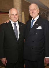 Honoree Ronald S. Lauder (R) and Malcolm Hoenlein, Executive Vice Chairman/CEO, Conference of Presidents .  Ambassador Ronald S. Lauder Receives The Shimon Peres Peace & Innovation Award on September 13, 2018 in New York City. Photo by:   Noa Grayevsky/Getty Images for JCS International