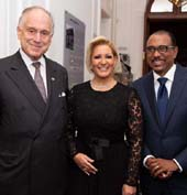 First Lady of Panama HE Lorena Castillo de Varela, Ambassador Ronald S. Lauder .  Photo by: Noa Grayevsky/Getty Images