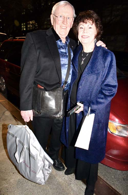 Len Cariou and his lovely wife leaving the event  .  Photo by: Rose Billings/Blacktiemagazine.com