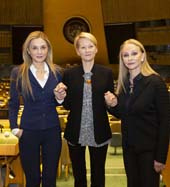 UNWFPA�s Treasurer Michal Grayevsky, UN Women�s Resource Mobilization and Advocacy Manager Vesna Jaric, UNWFPA�s President Barbara Winston