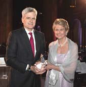 Senator Bill Cassidy and our Founder and CEO Carolyn Aldig�as he accepts his 2019 Cancer Champion award.  Photo by: Jack Hartzman