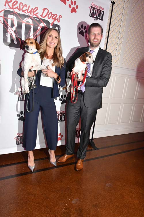 Lara & Eric Trump with Their much loved rescue pups .  Photo by:  Rose Billings/Blacktiemagazine.com