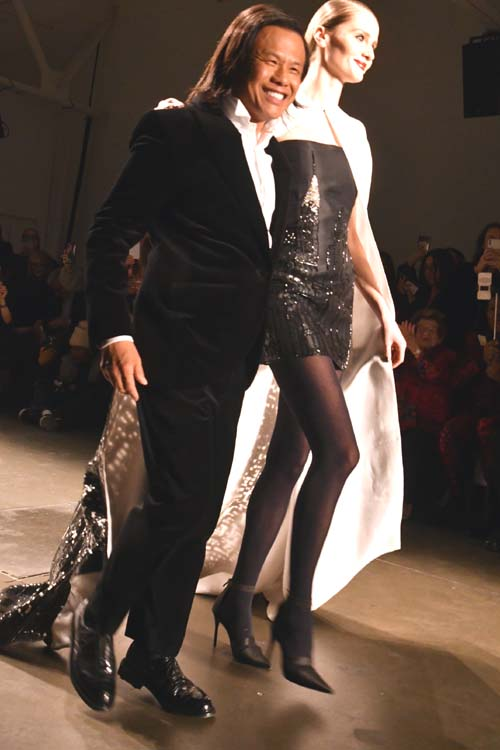 Designer Zang Toi with Fashion Model.  Photo by:  Rose Billings/Blacktiemagazine.com