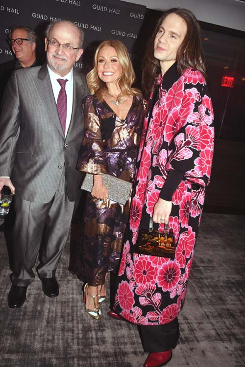Salman Rushdie, Kelly Ripa and Jordon Roth. Photo by:  Rose Billings/Blacktiemagazine.com