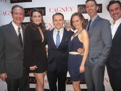 "04-09-16 (L-R) Cast members Bruce Sabath. Danette Hollden. Robert Creighton. Ellen Zolezzi. Jeremy Benton. Josh Walden at the opening night party for ""Cagney"" at BEA restaurant. 403 West 43rd  St. Sunday night 04-03-16.  Photo by:  Aubrey Reuben"