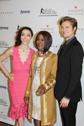 2016 Skating with the Stars Gala honorees Meryl Davis, Cicely Tyson, and Charlie White. Photo by: Sue Coflin/Max Photo